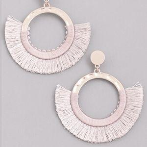 Odessa baby pink thread fringe earringsBoutique for sale